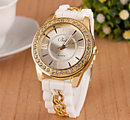 Women's Round Dial Case Silicone Watch Brand Fashion Quartz Watch(More Color Available)