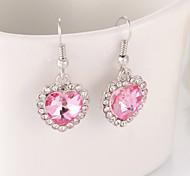 The heart of the ocean peach crystal heart pendant earrings