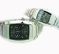 Couple's New Explosion Square Dial Steel Band Fashion Quartz Watch