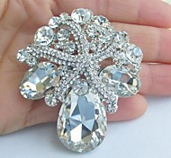 Wedding Accessories Silver-tone Clear Rhinestone Bridal Brooch Wedding Bouquet Wedding Deco Crystal Starfish Brooch Mermaid