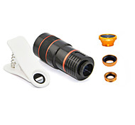 Apexel Universal Clip 4 in 1 Lens Kit 8X Telephoto Lens +Wide-angle+Macro Lens +Fisheye Lens for Most of Cellphones