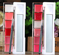 6-color Moisturizing Nourshing Rosy Pink Color Shimmer Sweet Lip Jelly Lip Gloss (Mirror&Lip Brush in,Assorted 2 color)