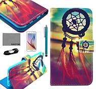 Coco fun® teste padrão de nó chinês estojo de couro pu com filme e cabo USB e caneta para Samsung Galaxy S6
