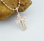 18K Gold Plated CC Russia Color Orthodox Jesus Cross Pendant