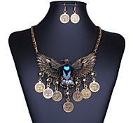 retro águia borla colares de moedas / brincos conjuntos das mulheres