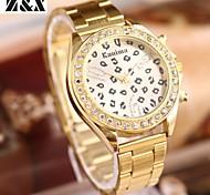 diamante moda leopardo quartzo correia de aço analógico pulseira de relógio das mulheres
