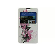 Butterfly Connected Pattern Voltage Window PU Leather Full Body Cases for Sony E4