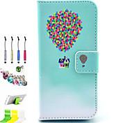 padrão balão pu tudo incluído com o caso de entalhe e caneta conjunto de obturador poeira suporte para iphone 5c