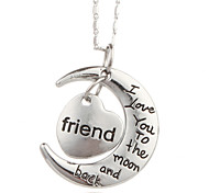 Vilam® I Love You To The Moon And Back Friend Zinc Alloy Silver Shining Necklace