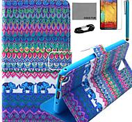 Coco fun® padrão azul elefante estojo de couro pu com filme e cabo USB e caneta para Samsung Galaxy nota 3