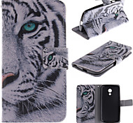 White Tiger Design PU Leather Full Body Case with Stand and Protective Film for Motorola G2