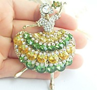 Women Accessories Gold-tone Multicolor Rhinestone Crystal Brooch Art Deco Crystal Dancing Girl Brooch Women Jewelry