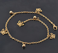 Women's 18K Yellow Gold Plated Stainless Steel Butterfly Charm Bracelet/Anklet Fashion Beach Foot Chains
