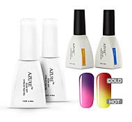 azur 4 pièces / lot gel uv caméléon Soak-Off soins de vernis à ongles (# 08 + # 18 + base + haut)