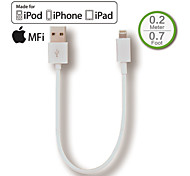 mfi bliksem naar usb lader sync korte kabel voor iphone5 6, ipad lucht, ipad mini, speciaal voor power bank, desktop pc, 20cm