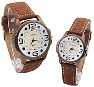 Women's New Fashion Lovers Who Watch Big Round Dial PU Leather Strap Quartz Movement Wrist Watches(Assorted Colors)