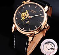 nuovo quadrante diamante rotondo cinturino in vera pelle orologio meccanico modo impermeabile maschile (colori assortiti)