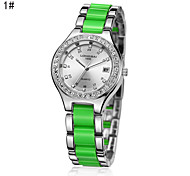 Women's Calendar Analog Alloy Case Round Dial Chinese Quartz Watch Women Fashion Watch Gift Watch(Assorted Colors)