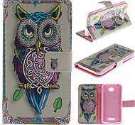 Personality Owls PU Leather Full Body Case with Kickstand and Card Slot for Sony E4