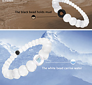 Euner® Environmental Protection Silicone Bracelet,Bead Mud from Dead Sea & Water from MT Everest,White