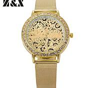 relógio de forma de diamante linda leopardos impressão de pulso de quartzo analógico aço cinto de mulheres (cores sortidas)
