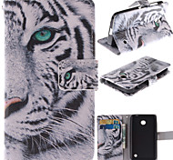 White Tiger Design PU Leather Full Body Case with Stand and Card Slot for Nokia Lumia N630