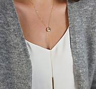 Women's Fashion Metal Golden Art Circle Chain Necklace