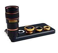 Apexel 4 in 1 lente kit 8x teleobiettivo + grandangolare + obiettivo macro + lente fisheye con custodia per iPhone 5 quater (colori
