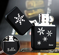 Personalized Gift Snow Design Stylish Steel Black Single Flame Flint Oil Lighter