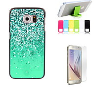 Green Sand Design Hard Case with Screen Protector and Stand Holder for Samsung Galaxy S6