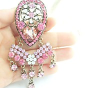 Women Accessories Gold-tone Pink Rhinestone Crystal Flower Brooch Art Deco Brooch Bouquet Women Jewelry