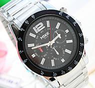 Men's Unique New Round Dial PC Movement Steel Strap Fashion Life Waterproof Quartz Watch (Assorted Colors)