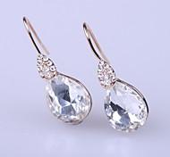 Rose gold plated Water drop costume White rhinestone earrings Big crystal earring Water drop glass earrings