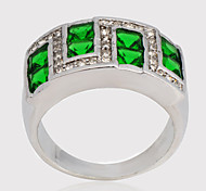Size10 High Quality Men Green Sapphire Rings 10KT White Gold Filled Ring