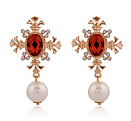 Drop Earrings Crystal Crystal Imitation Pearl Alloy Unique Design Geometric Cross Geometric Jewelry Party Daily Casual 1 pair