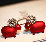 Lovely Sheep Rhinestone Stud Earrings(Black and red)