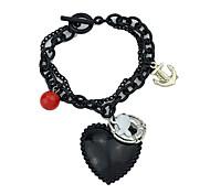 Gothic Style Black Big Heart Charm Bracelet