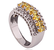 Size 7/8/9/10/11 High Quality  Women Yellow Sapphire Rings 10KT White Gold Filled Ring