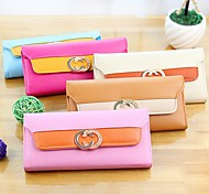 Fashionable Double C Stylish Multi Color PU Purse (Random Delivery)