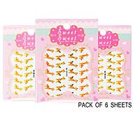 Pack of 6 Sheets 3D Nail Decals Nail sticker Animals The Cute Giraffe QJ-3D-612-614