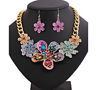 HUALUO®European and American Style Fashion Flower Painting Diamond Necklace Set
