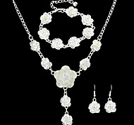 Costume Beautiful Silver Plated Bracelet Necklace Earrings Fashion Jewelry Set