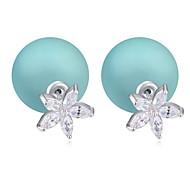 Hot Sale For 2015 Flower Shaped Zircon Crystal Pearl Earring Double Sided Pearl Earring Cheap Pearl Earring For Women