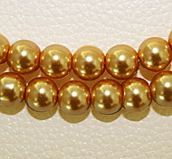 Beadia 3 Str(approx 580pcs) Fashion 4mm Round Glass Pearl Beads Gold-Yellow Color DIY Spacer Loose Beads