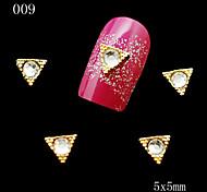 009 10pcs/lot Triangles Golden Rhinestone Nail Metal Alloy Nail Tools 3D DIY Nail Jewelry Decoration
