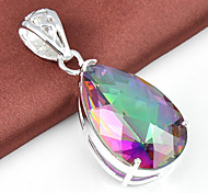 Trendy Fire Drop Multi-Colored Mystic Topaz Gem 925 Silver Pendants for Necklaces For Wedding Party Daily Casual 1pc