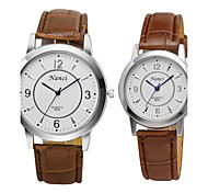 Hot Sale Fashion Women&Men Quartz Watch Round PU Leather Band Casual Couples Wristwatch for Lovers
