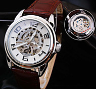 Men's New Round Dial Mineral Glass Mirror Genuine Leather Band Waterproof Fashion Mechanical Watch