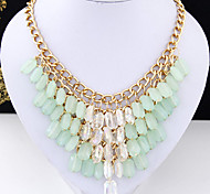 European Style Fashion Metal Trend Candy Colored Resin Short Necklace