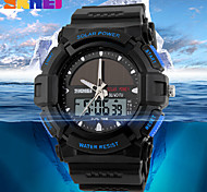 SKMEI® Men's Sporty Watch Solar Power Analog-Digital Calendar/Chronograph/Dual Time Zones/Alarm Black Rubber Strap